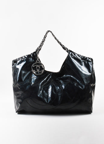 "Black Chanel Vinyl 'CC' ""Coco Cabas Jumbo XL"" Chain Strap Shoulder Bag Front"