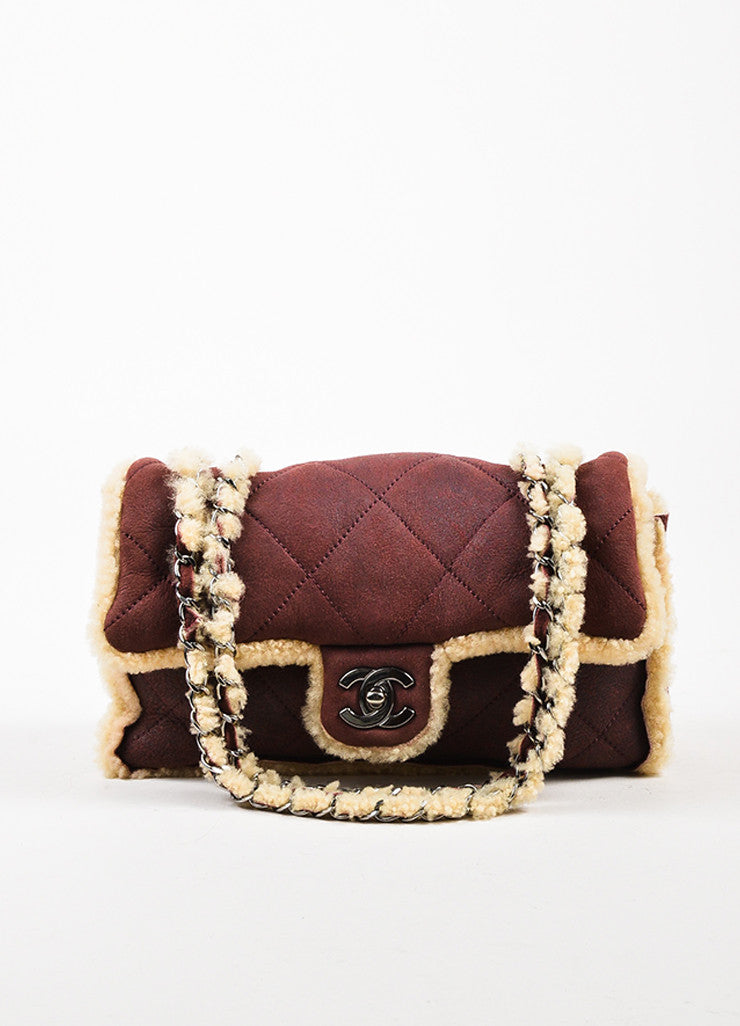 Chanel Burgundy and Beige Quilted Shearling 'CC' Turnlock Chain Strap Shoulder Bag Frontview