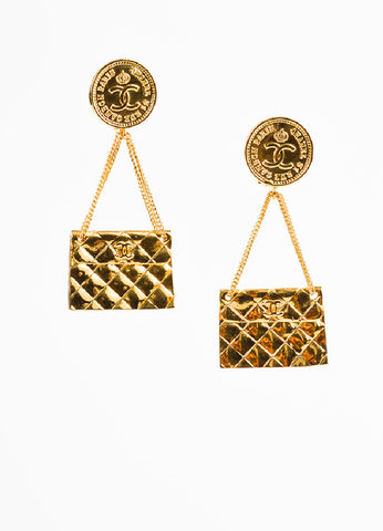 Chanel Gold Toned Quilted Flap Bag 'CC' Coin Dangle Drop Clip On Earrings Frontview