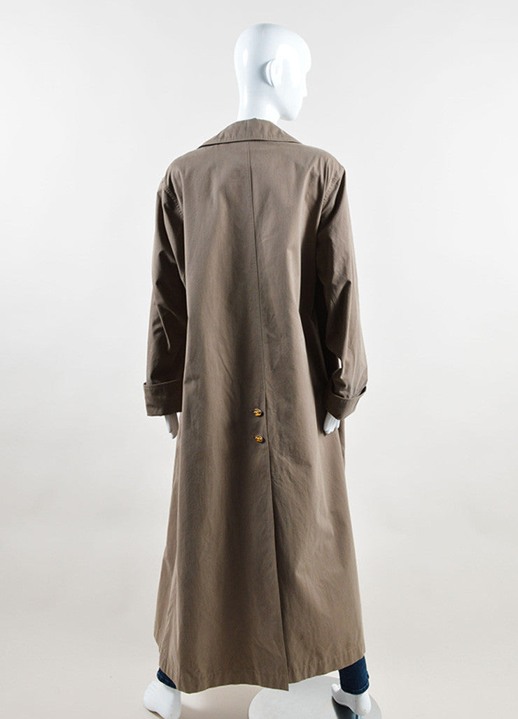 "Chanel Grey ""CC"" Button Double Breasted Ankle Length Trench Coat Backview"