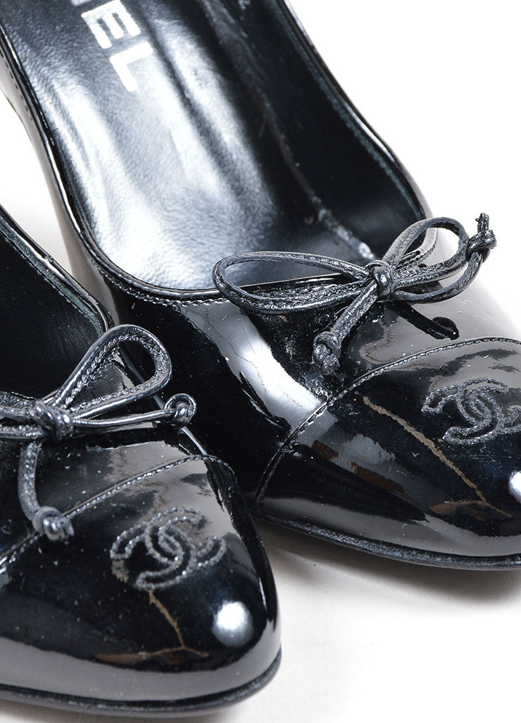 "Chanel Black Patent Leather ""CC"" Logo Bow Detail Almond Toe Pumps Detail"