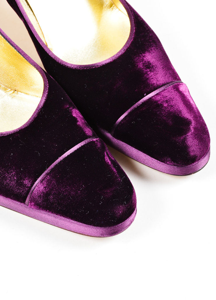 "Purple Velvet Chanel ""CC"" Platform Pumps Detail"