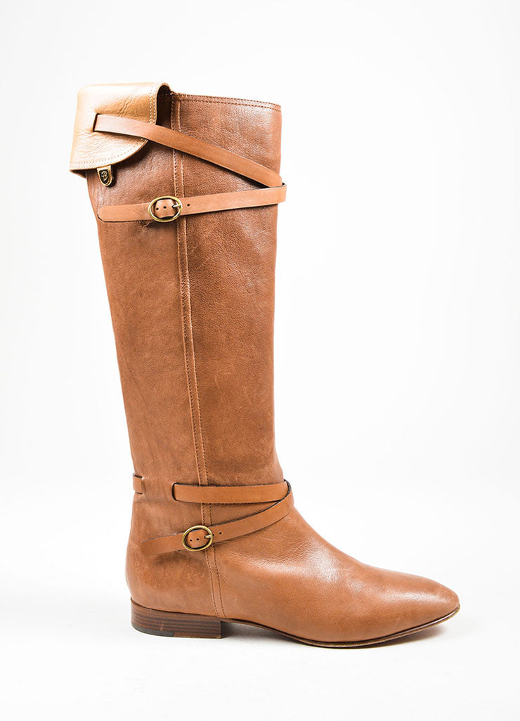 Chloe Brown Strap Buckle Knee High Boots Sideview