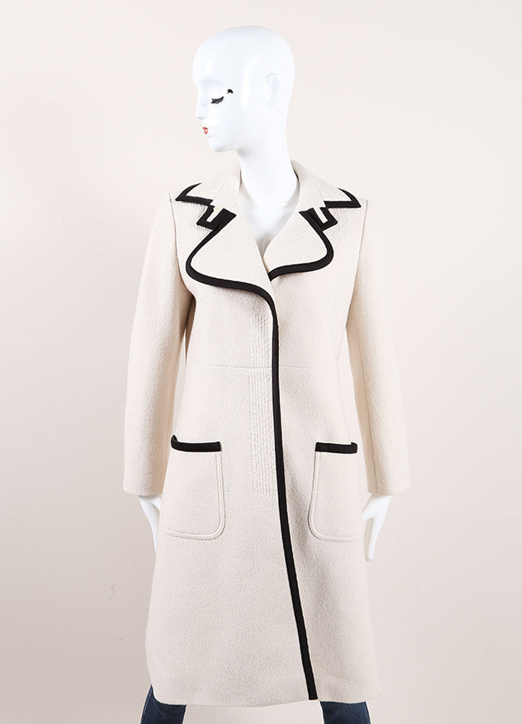 Chloe Cream and Black Wool and Satin Trim Long Sleeve Trench Coat Frontview