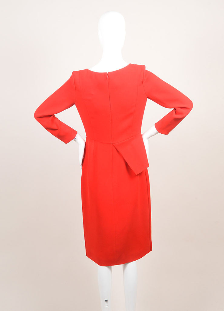 Christian Dior New With Tags Red Silk Long Sleeve Asymmetrical Peplum Dress Backview