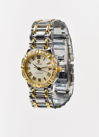 "Concord Stainless Steel, 18K Yellow Gold, and Diamond ""Saratoga"" Bracelet Watch Frontview"