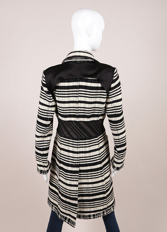 DKNY Black and White Wool Woven Striped Long Button Down Jacket Backview