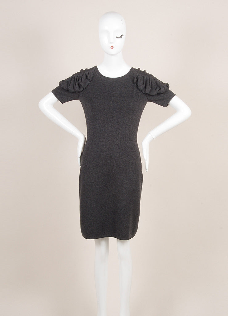 Fendi Charcoal Grey Wool Ruched Short Sleeve Fitted Dress Frontview