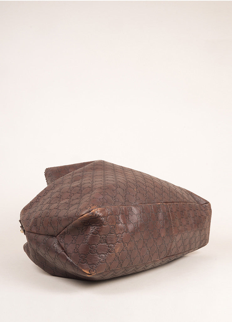"Gucci Chocolate Brown Leather Large Horsebit ""Guccissima"" Hobo Bag Bottom View"