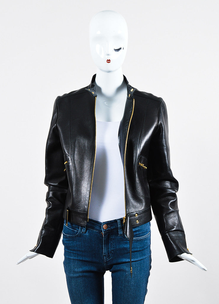 Gucci Black Leather Gold Toned Moto Zip Jacket Frontview
