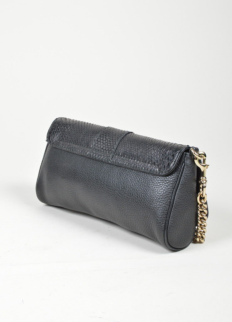"Black Gucci Python Leather ""Greenwich Evening Bag"" Chain Strap Clutch Bag Sideview"