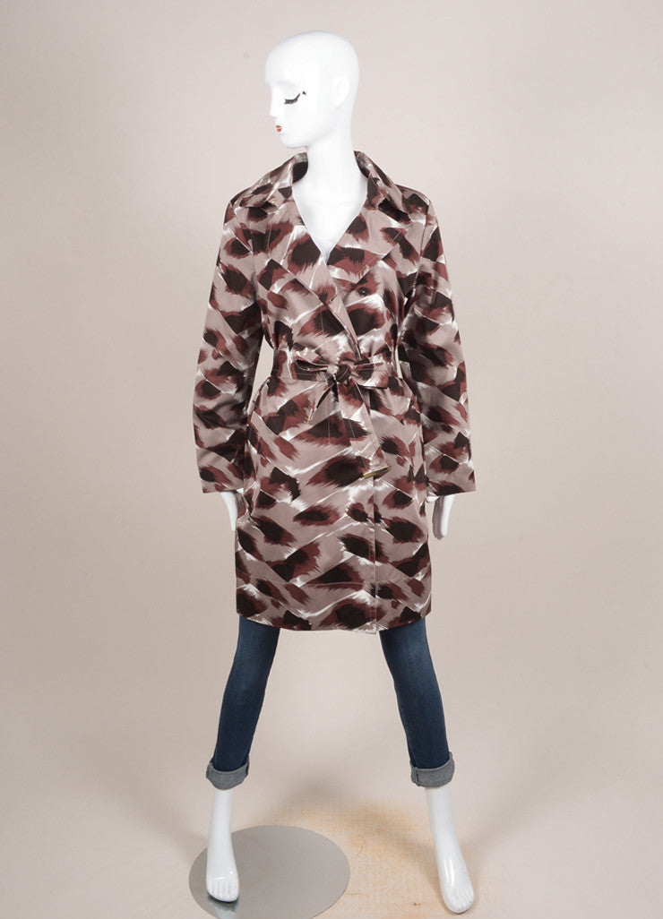 Gucci Grey, Brown, and Black Cotton Abstract Print Belted Trench Coat Frontview