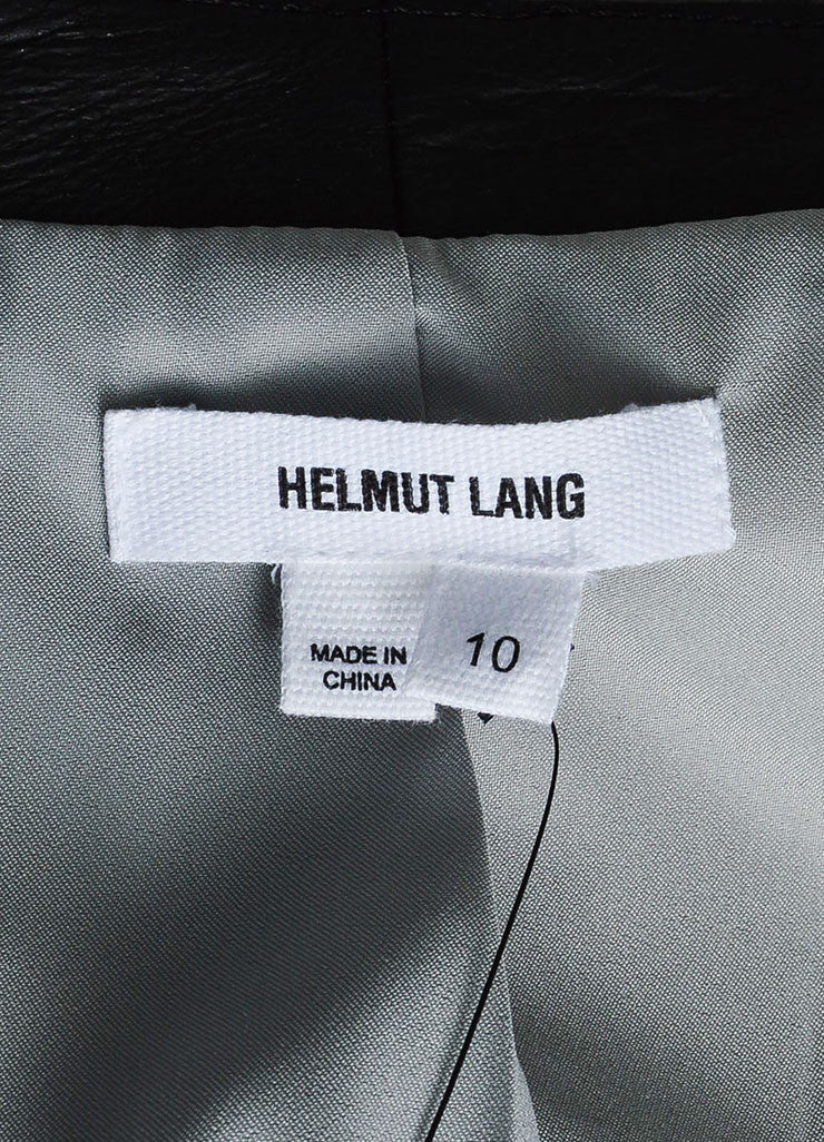 Grey and Black Helmut Lang Wool Blend Jacquard Leather Zip Jacket Brand
