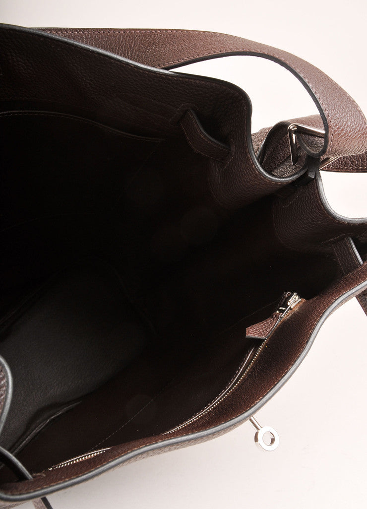 "Hermes Dark Brown Grained ""Togo"" Leather ""So Kelly 26"" Bucket Bag Interior"