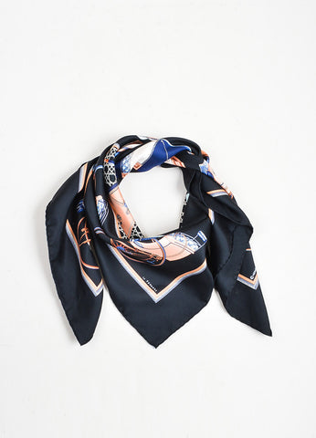 "Black and Multicolor Hermes Silk Printed ""Les Voitures a Transformation"" 90cm Scarf Frontview"