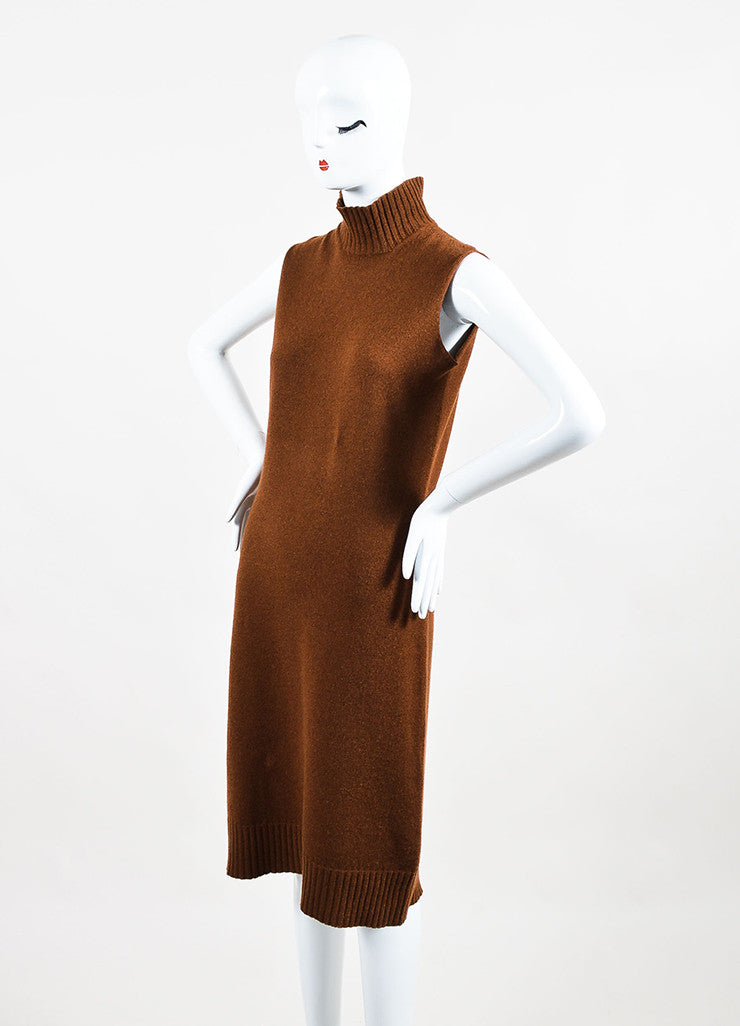 Hermes Brown Turtleneck Ribbed Trim Sleeveless Sweater Dress Sideview