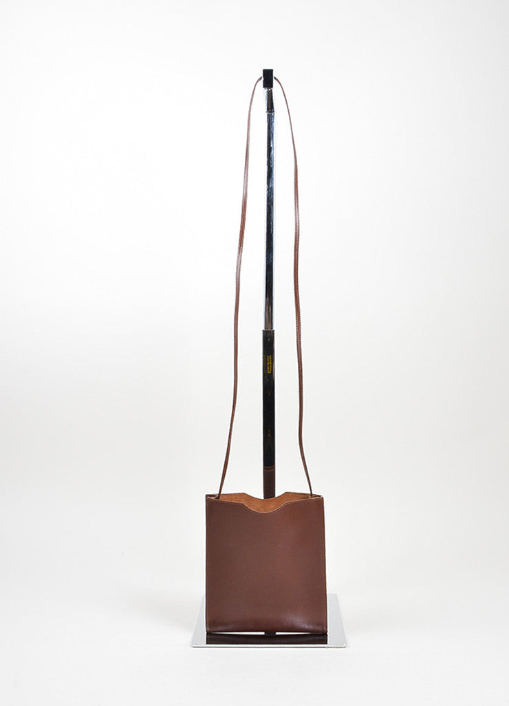 "Dark Brown Leather Hermes ""Onimaitou"" Flat Pouch Crossbody Bag Frontview"
