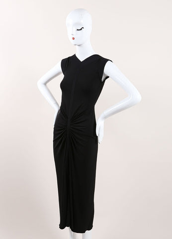 Herve Leroux New With Tags Black Stretch Jersey Knit Ruched Full Length Dress Sideview