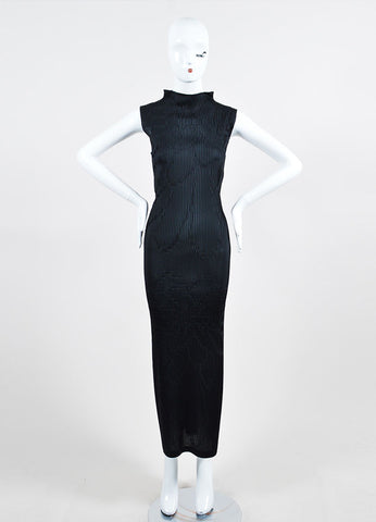 Black Issey Miyake Micro Pleat Textured Sleeveless Stand Collar Maxi Dress Frontview