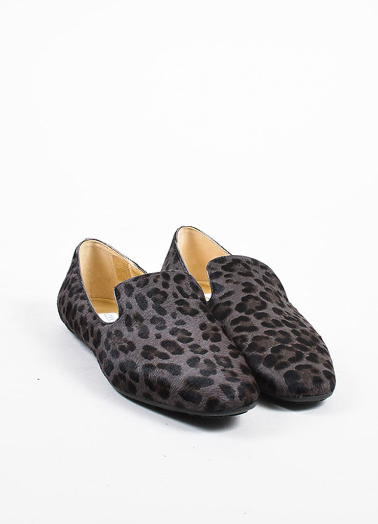 "Jimmy Choo Grey and Brown Pony Hair Leopard Print ""Wheel"" Loafers Frontview"