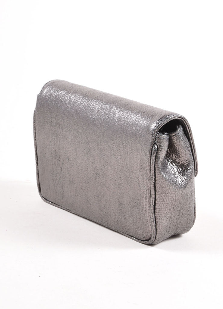 Judith Leiber Grey Metallic Leather Chain Strap Clutch Bag Sideview