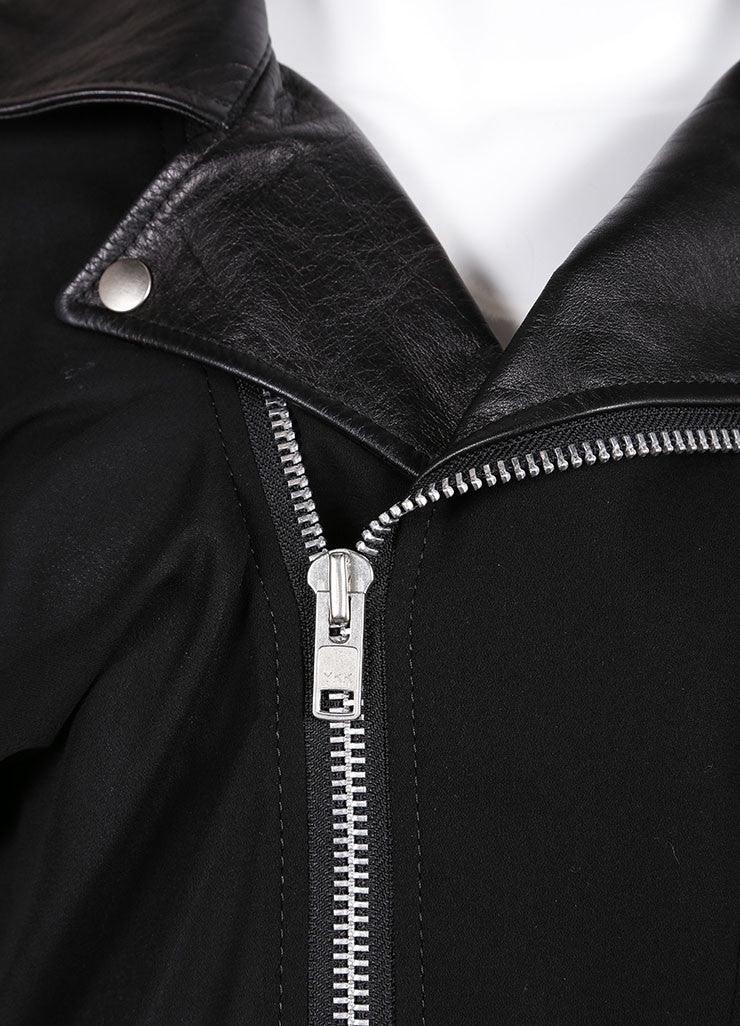 Junya Watanabe Black Knit Leather Collar Belted Moto Crop Sleeve Jacket Detail