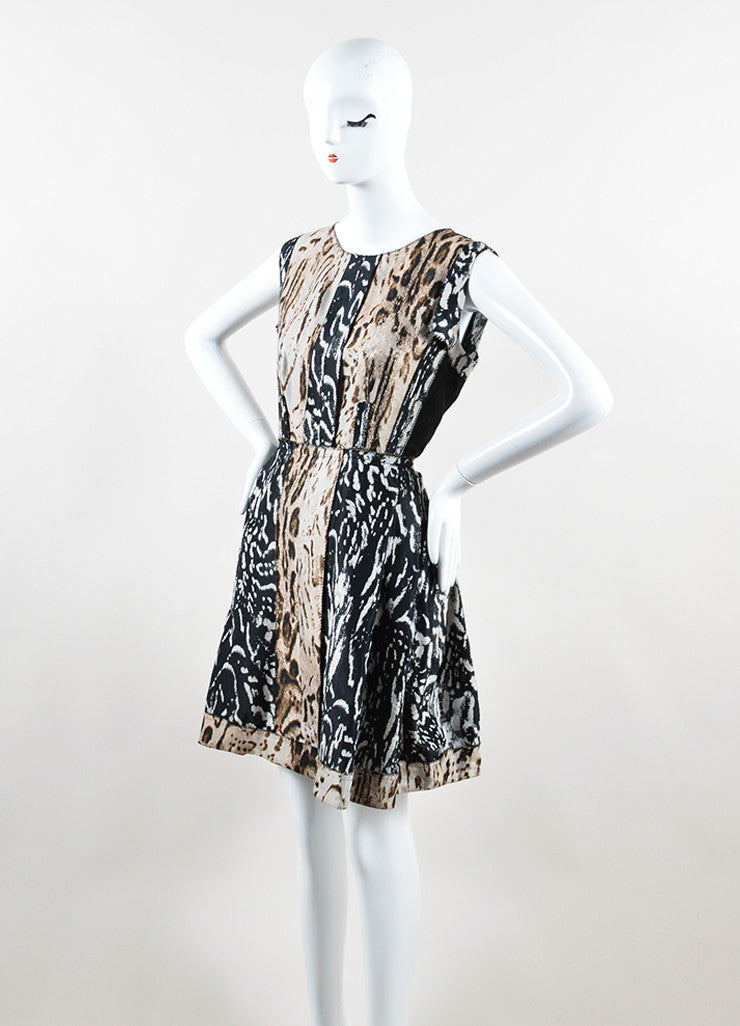 Lanvin Black and Brown Animal Print Pleated Sleeveless Dress Sideview