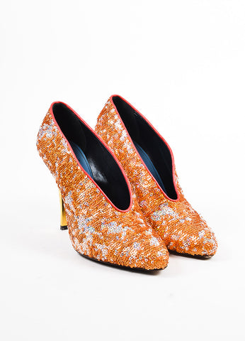 Lanvin Orange, Silver, and Gold Leather Sequined Pumps Frontview