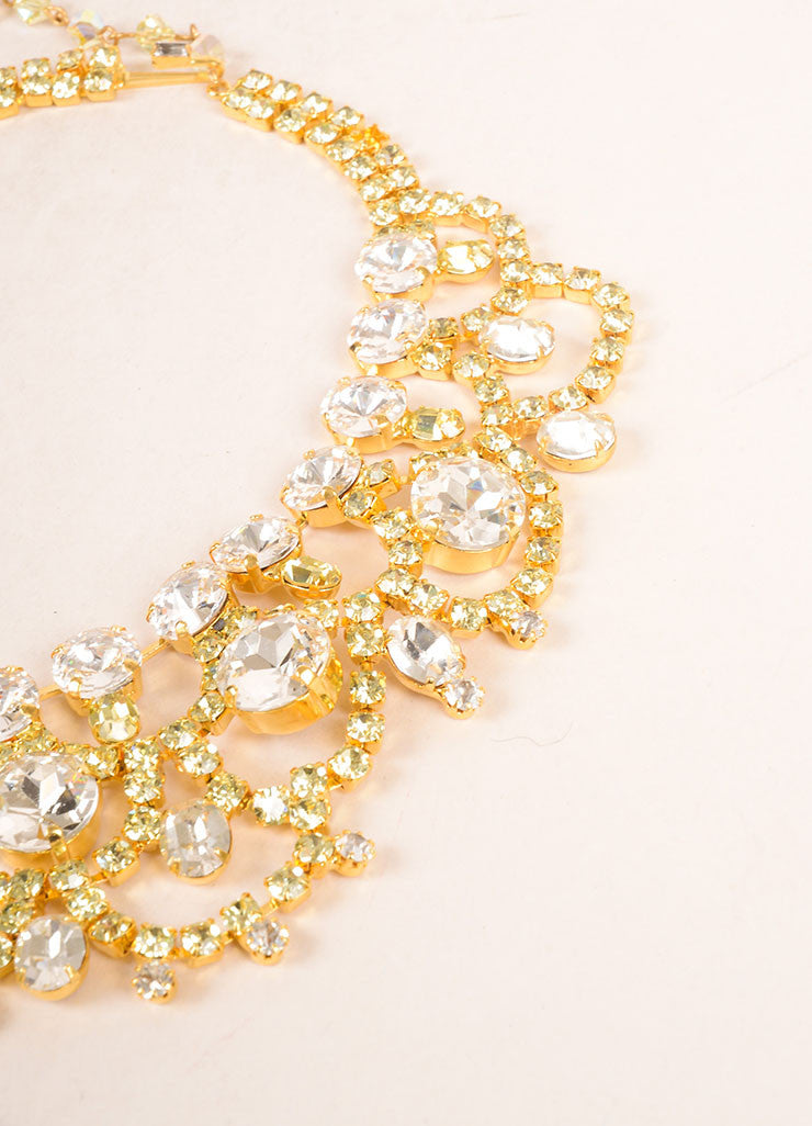 Lawrence Vrba Gold Toned, Clear, and Green Oversized Bib Necklace Detail 2