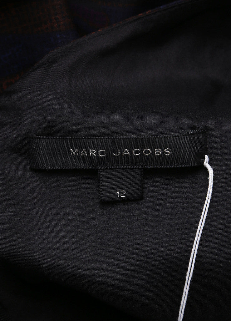 Marc Jacobs New With Tags Brown, Blue, and Purple Leaf Print Sleeveless Cotton Sheath Dress Brand