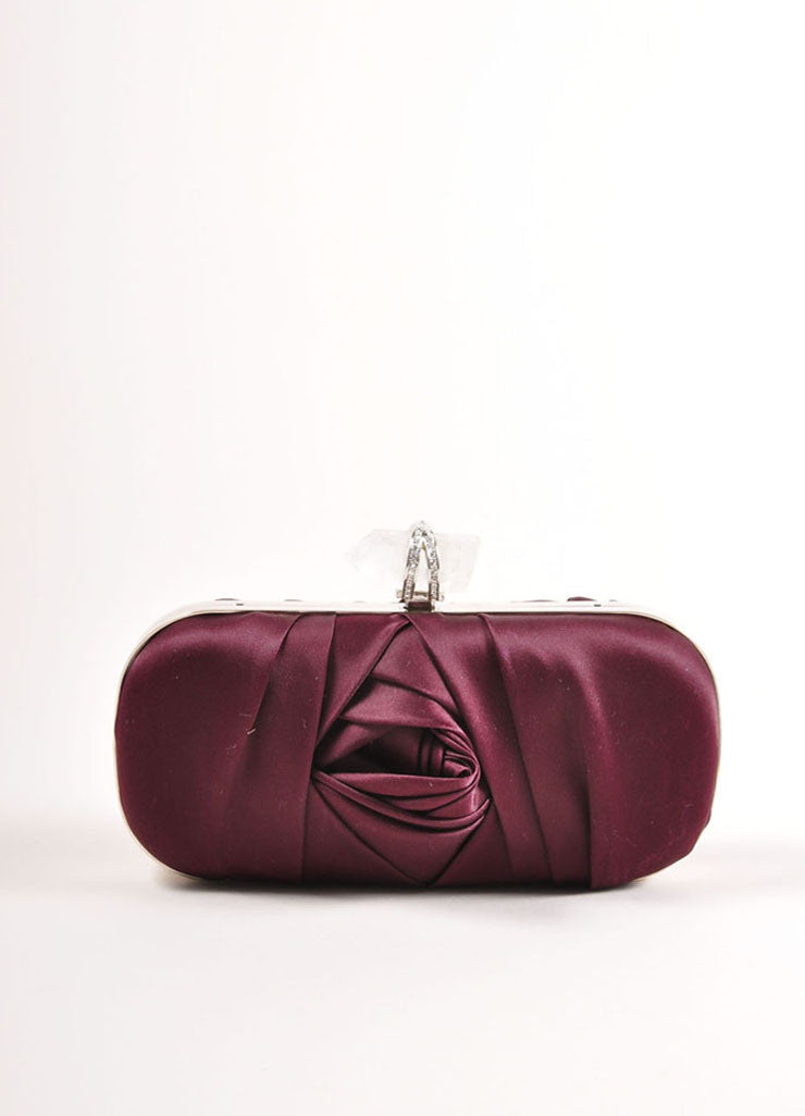 "Marchesa Burgundy Red Gathered Satin Quartz Latch ""Lily"" Clutch Bag Frontview"