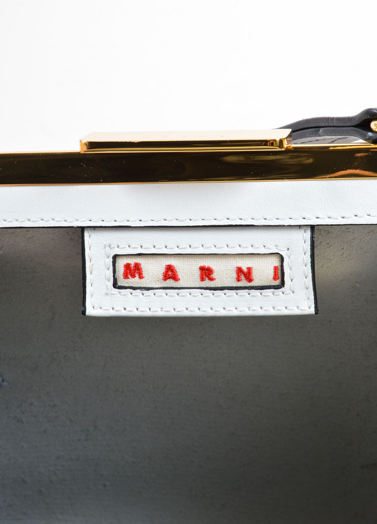 Marni White and Black Color Block Leather Top Handle Frame Bag Brand