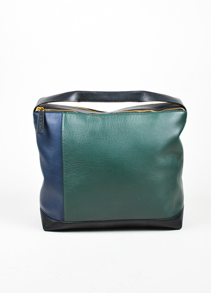 Marni Dark Green, Navy, and Black Leather Color Block Oversized Hobo Bag Frontview