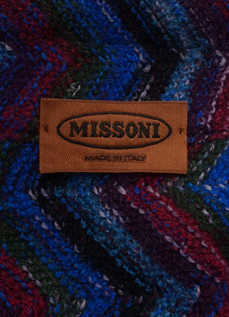 Missoni Blue Multicolor Wool Knit Chevron Long Sleeve Cardigan Sweater SZ 42 Tag