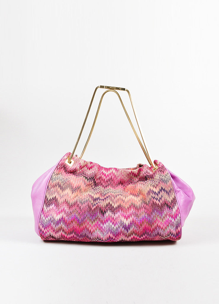 Pink and Multicolor Missoni Leather and Textile Chevron Zig Zag Shoulder Bag Frontview