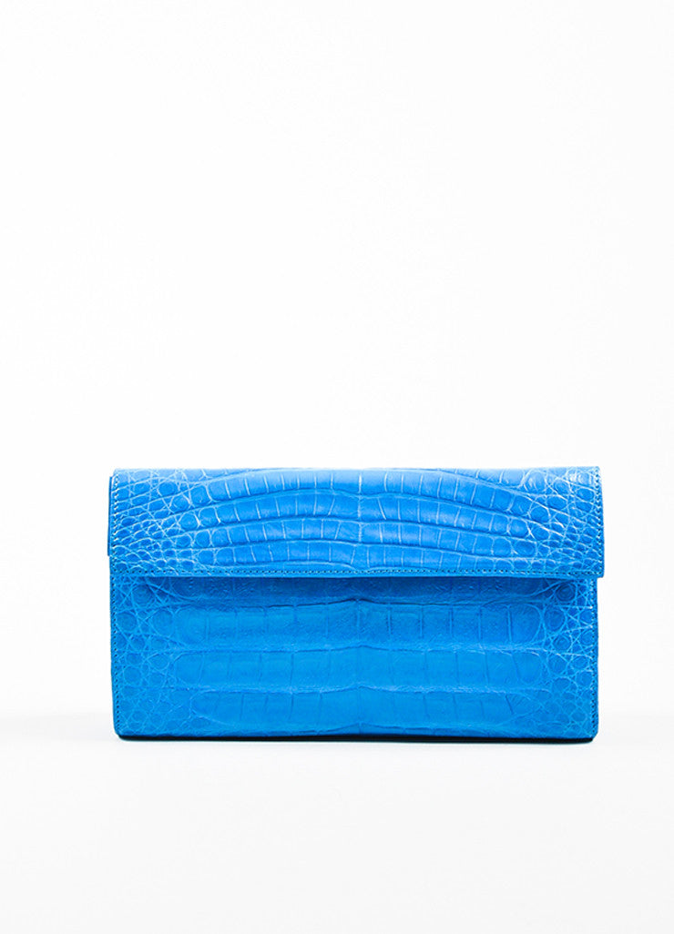 "Nancy Gonzalez ""Ocean"" Blue Crocodile & Suede Leather East West Clutch front"