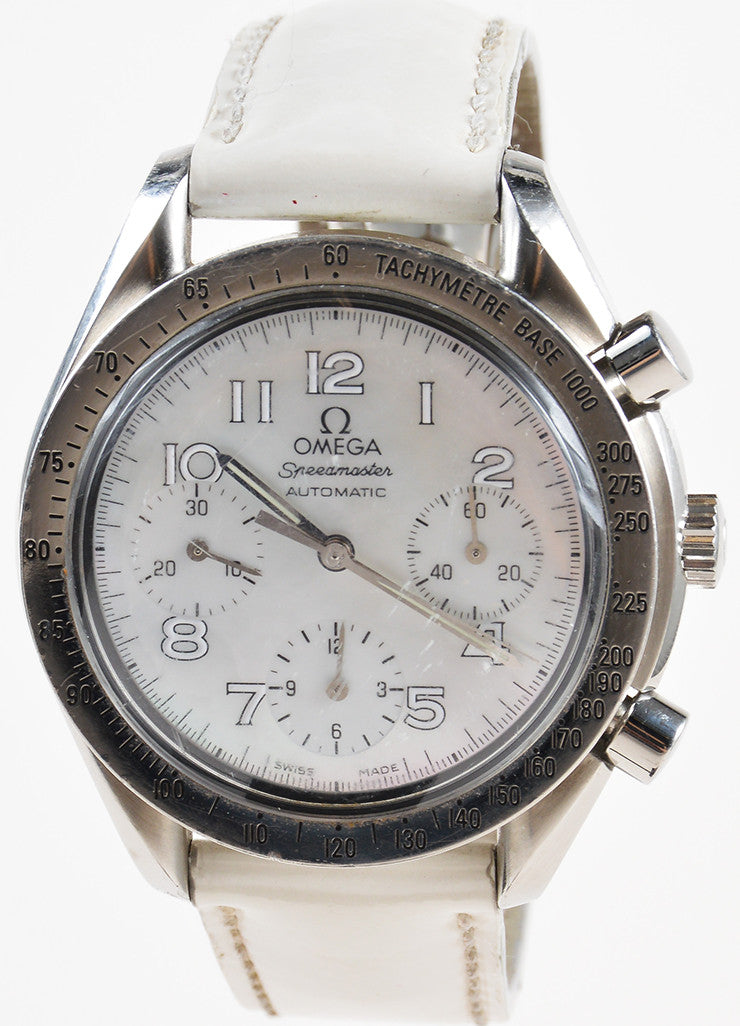 Omega Stainless Steel and Mother of Pearl Automatic Speedmaster Leather Watch Detail