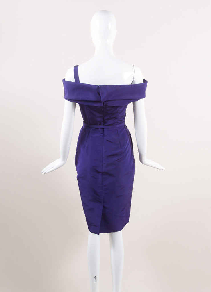 Oscar de la Renta New With Tags Purple Off Shoulder Silk Faille Sheath Dress Backview