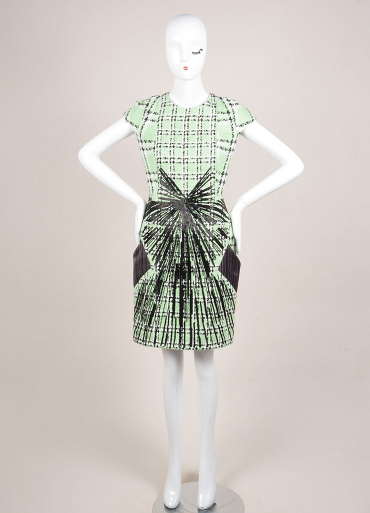 "Peter Pilotto New With Tags Light Green and Black Tweed Woven Plaid ""Zoom"" Dress Frontview"