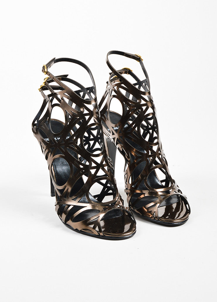 Taupe Metallic Pierre Hardy Patent Leather Cut Out Sandal Heels Frontview