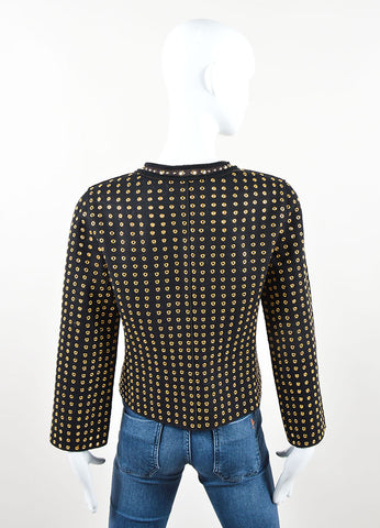 Prada Black and Gold Toned Wool Blend Grommet Studded Jacket Backview