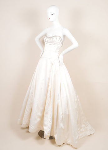 Reem Acra Cream Satin Tulle Crystal Embroidered Strapless Princess Wedding Gown Sideview