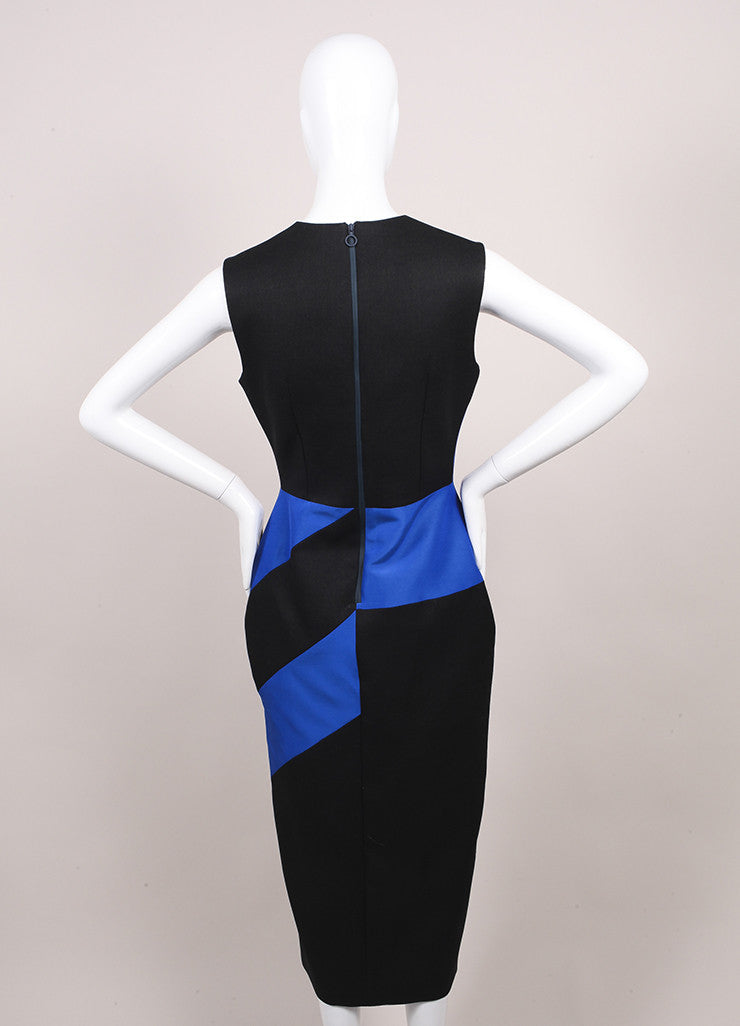 Roksanda Ilincic New Charcoal Grey, Blue, and Orange Midi Villare Dress Backview