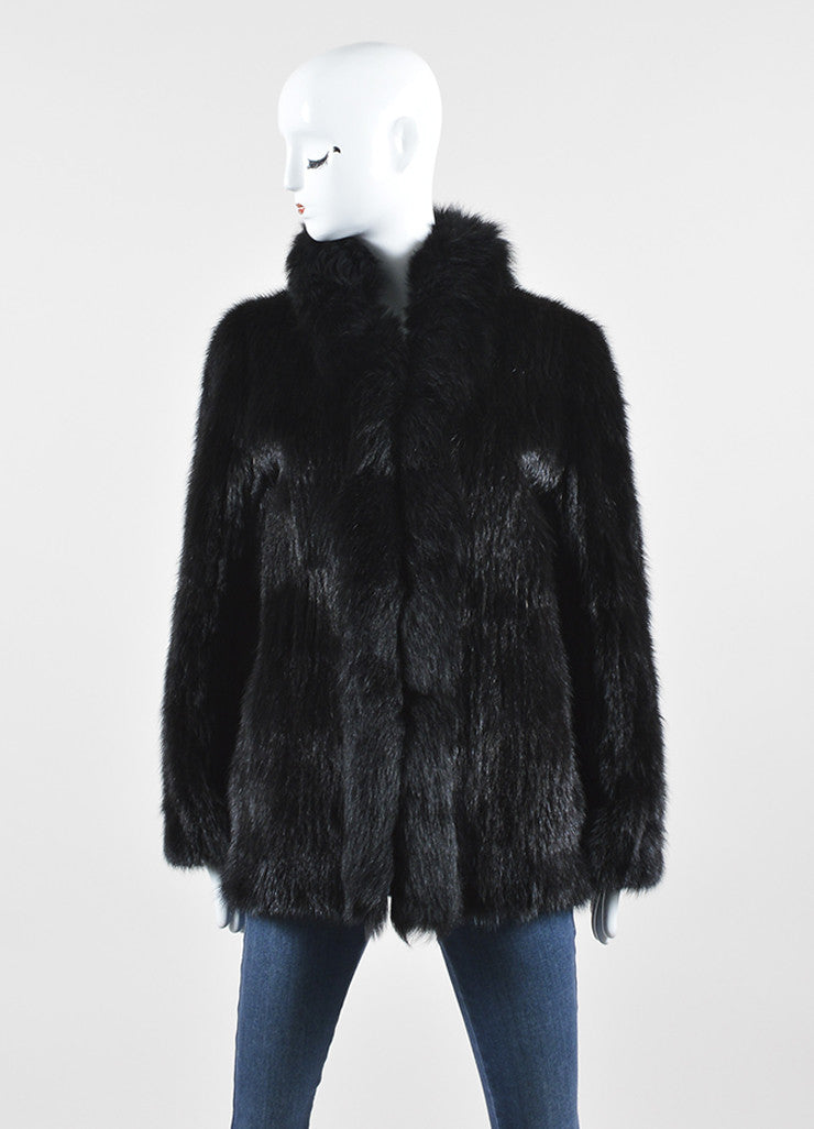 Black Saga Mink Fur High Collar Long Sleeve Fur Coat Frontview 2