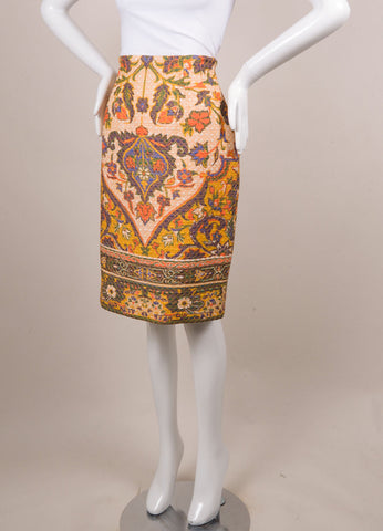 Christian Dior White and Yellow Silk Baroque Print Quilted Skirt Sideview