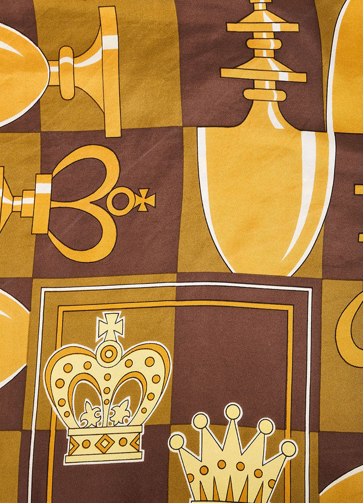 Hermes Brown and Gold Chess Piece and Board Print Silk Scarf Detail 2
