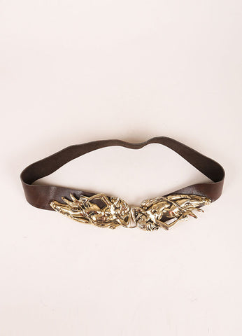 Jose Cotel Dark Brown and Gold Toned Greek Figure Buckle Leather Belt Frontview