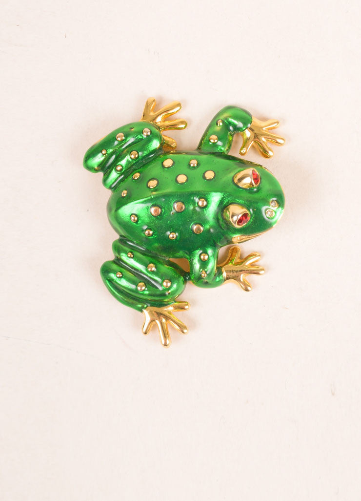 Kenneth Jay Lane Green and Gold Toned Spotted Frog Enamel Pin Brooch Frontview