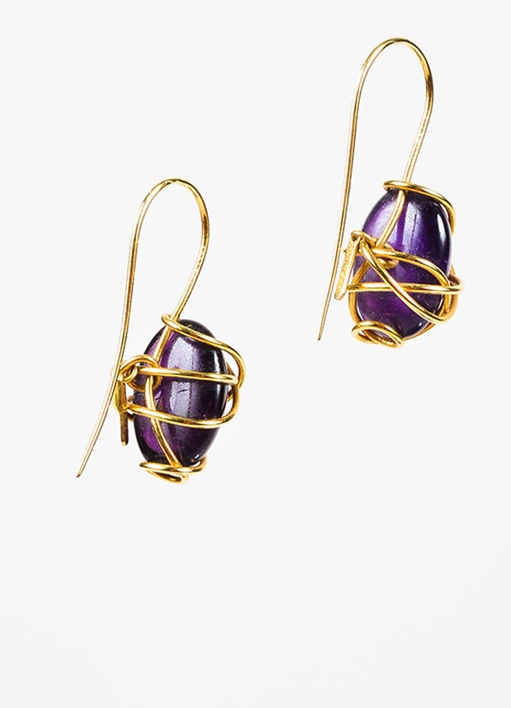 Tina Chow 18K Yellow Gold and Amethyst Wrapped Drop Hook Earrings Backview