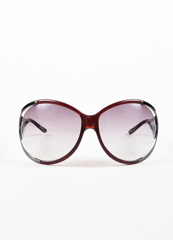 Valentino Dark Red & Grey Round Cut Out Oversized '5625 S' Sunglasses Front 2